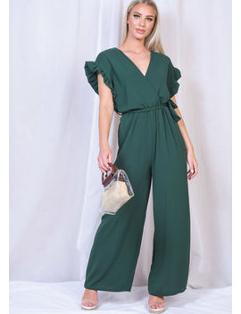 tie-waist-frill-short-sleeve-jumpsuit-green by lily-lulu-fashion