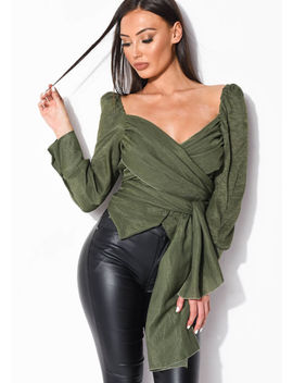 wrap-over-button-front-shirt-top-green by lily-lulu-fashion