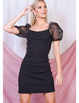 organza-puff-short-sleeve-mini-bodycon-dress-black by lily-lulu-fashion