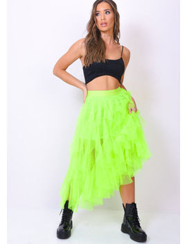 high-waisted-layered-tulle-ruffle-midi-skirt-neon-green by lily-lulu-fashion