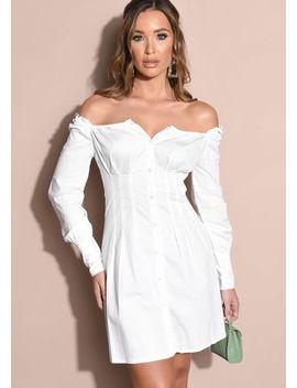 button-through-square-neck-shirt-mini-dress-white by lily-lulu-fashion