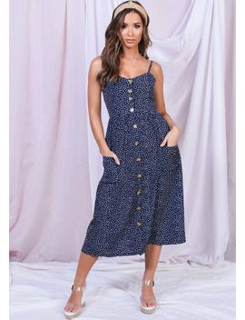 printed-front-button-through-strappy-midi-dress-navy-blue by lily-lulu-fashion