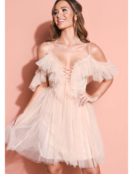 frill-cold-shoulder-bardot-tulle-mini-dress-nude-pink by lily-lulu-fashion