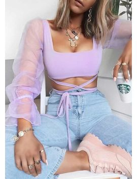 organza-tie-front-sheer-puff-sleeve-crop-top-purple by lily-lulu-fashion