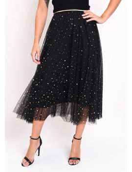 high-waisted-star-sequin-tulle-midaxi-skirt-black by lily-lulu-fashion
