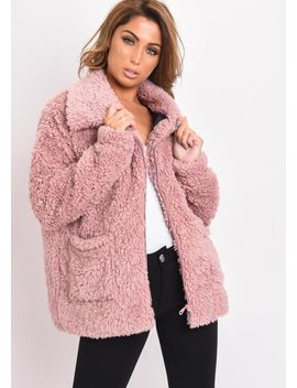 faux-fur-oversized-zip-up-teddy-jacket-pink by lily-lulu-fashion
