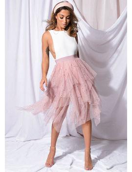 high-waisted-tiered-tulle-star-sequin-skirt-pink by lily-lulu-fashion