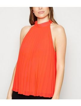 red-pleated-halterneck-top by new-look
