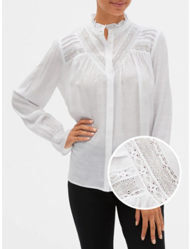 Lace Trim Pintuck Shirt by Gap