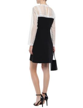 embroidered-mesh-and-crepe-paneled-mini-dress by sandro