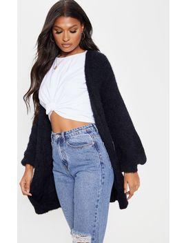 black-fluffy-knit-oversized-cardigan by prettylittlething
