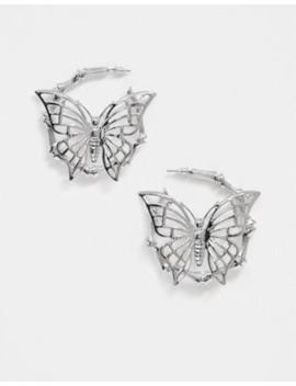 asos-design-hoop-earrings-with-butterfly-in-silver-tone by asos-design