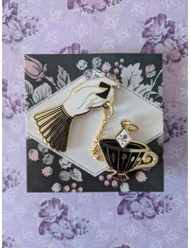 pre-order**-poison-tea---gothic-victorian-hand-&-teacup---hard-enamel-lapel-pin-set-with-chain by etsy