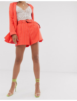 asos-design---short-de-costume-à-fines-rayures-avec-ceinture---corail by asos-design