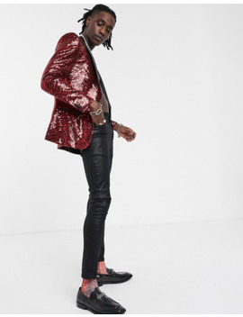 asos-design-skinny-blazer-in-sequin-overlay-in-black-and-red by asos-design