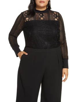 lace-mock-neck-long-sleeve-top by halogen