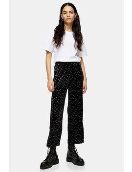 metallic-spot-plisse-trousers by topshop