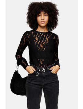black-daisy-lace-long-sleeve-top by topshop