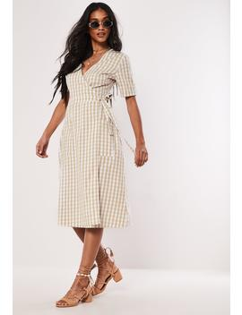 Cream Gingham Wrap Over Midi Dress by Missguided