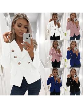 office-lady-button-long-sleece-v-neck-blazer-tops-autumn-women-plus-size-cardigan by wish