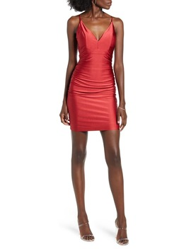 ruched-satin-body-con-dress by love,-nickie-lew