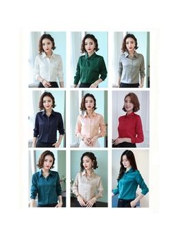 women-ladies-imitated-silk-satin-shirt-long-sleeve-business-formal-tops-blouse-loose-elegant by wish