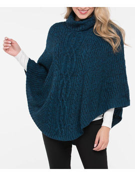 Cable Knit Cowl Neck Poncho by Ricki's