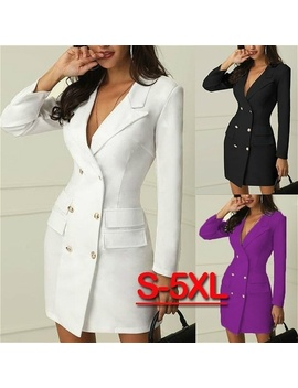 office-lady-fashion-plus-size-business-outfit-solid-buttom-midi-balzer-dress-elegant-casual-long-sleeve-v-neck-blazer-coat-suit by wish