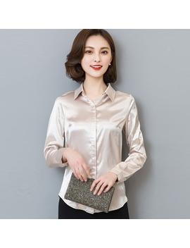 women-silk-satin-blouse-button-long-sleeve-white-gold-black-lapel-ladies-office-work-elegant-female-silk-blouses-shirts by wish