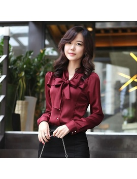 women-slim-tops-button-silky-bow-knot-collar-ruffle-satin-shirt-blouses by wish