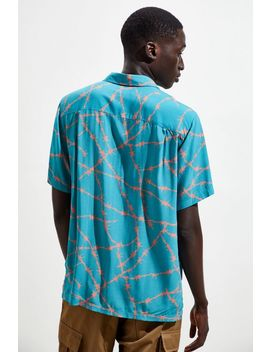 uo-barbed-wire-rayon-short-sleeve-button-down-shirt by urban-outfitters
