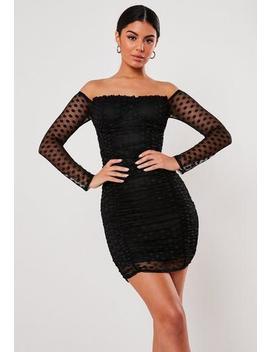 black-dobby-mesh-bardot-mini-dress by missguided