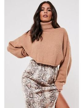 premium-camel-cropped-roll-neck-jumper by missguided