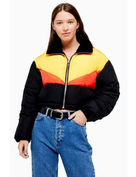 panel-cropped-puffer-jacket by topshop