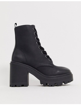 new-look-leather-look-heeled-biker-boots-in-black by new-look