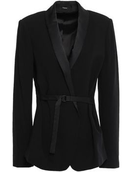 belted-satin-trimmed-crepe-blazer by theory