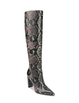 raakel-snake-print-leather-tall-shaft-stovepipe-dress-boots by sam-edelman