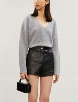 ilord-slim-fit-high-rise-leather-shorts by maje