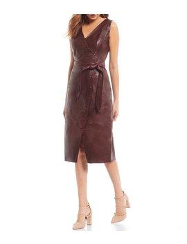 luxury-collection-esther-genuine-leather-asymmetrical-snap-front-tie-waist-midi-dress by antonio-melani