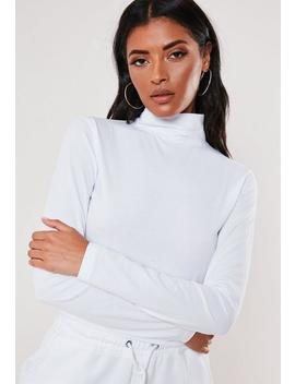white-high-neck-long-sleeve-crop-t-shirt by missguided