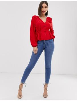 missguided---blouse-à-basque-nouée-sur-les-côtés---rouge by missguided