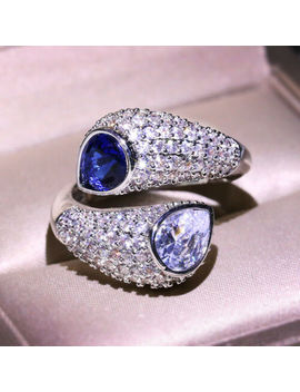 925-silver-luxury-pear-white-zircon-sapphire-birthstone-twine-rings-wedding-gift by unbranded
