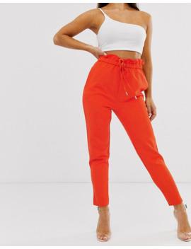 lasula---pantalon-à-taille-haute-froncée---rouge-corail by lasula