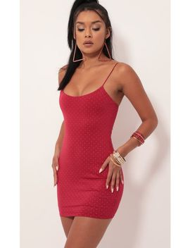 studded-deep-red-bodycon-dress by lucy-in-the-sky