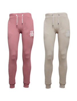 Dfnd London Mens Wright Two Pack Joggers Stone & Dusty Pink by Dfnd London