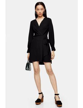 black-twist-front-mini-dress by topshop