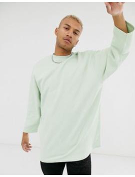 asos-design-oversized-longline-sweatshirt-with-3_4-sleeves-in-green by asos-design