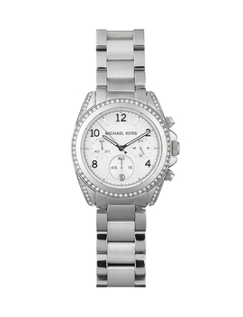 Silver Tone Crystal Set Bezel Watch by Michael Kors