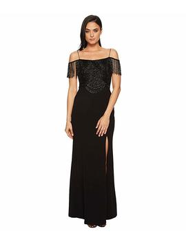 Fringe Knit Crepe Off The Shoulder Gown by Adrianna Papell