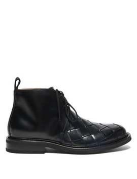intrecciato-leather-desert-boots by bottega-veneta